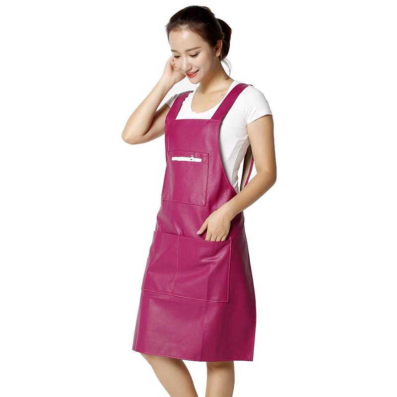 Cuero coreano tipo camiseta PU delantal impermeable y a prueba de aceite, cocina, vestido para adultos