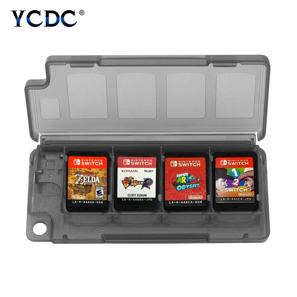 Portable Negro Azul blanco 10 en 1 8 tarjetas de juego + 2 tarjetas TF caja de almacenamiento Mini 11,2x4,7x1,3 cm titular para Nintendo Switch