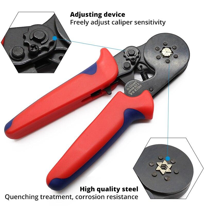 HSC8 6-6 Mini-tipo auto-ajustable prensa alicate herramientas de prensado de terminales de 0,25-mm2 (24-10 AWG)
