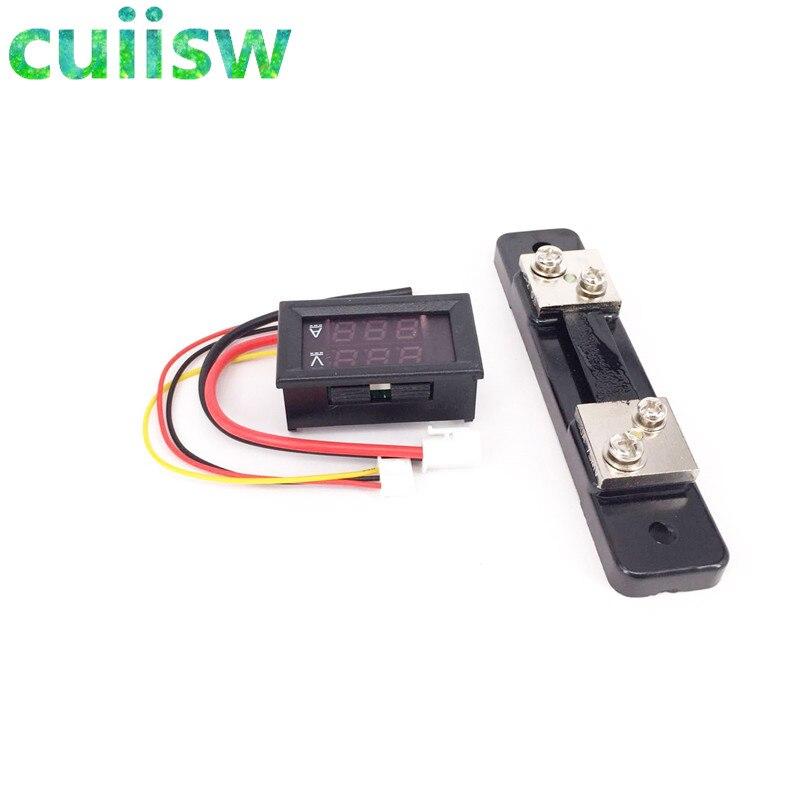 Цифровой вольтметр Амперметр 0-100 В/50 А, красный и синий, 2 в 1, амперметр постоянного тока, с шунтом