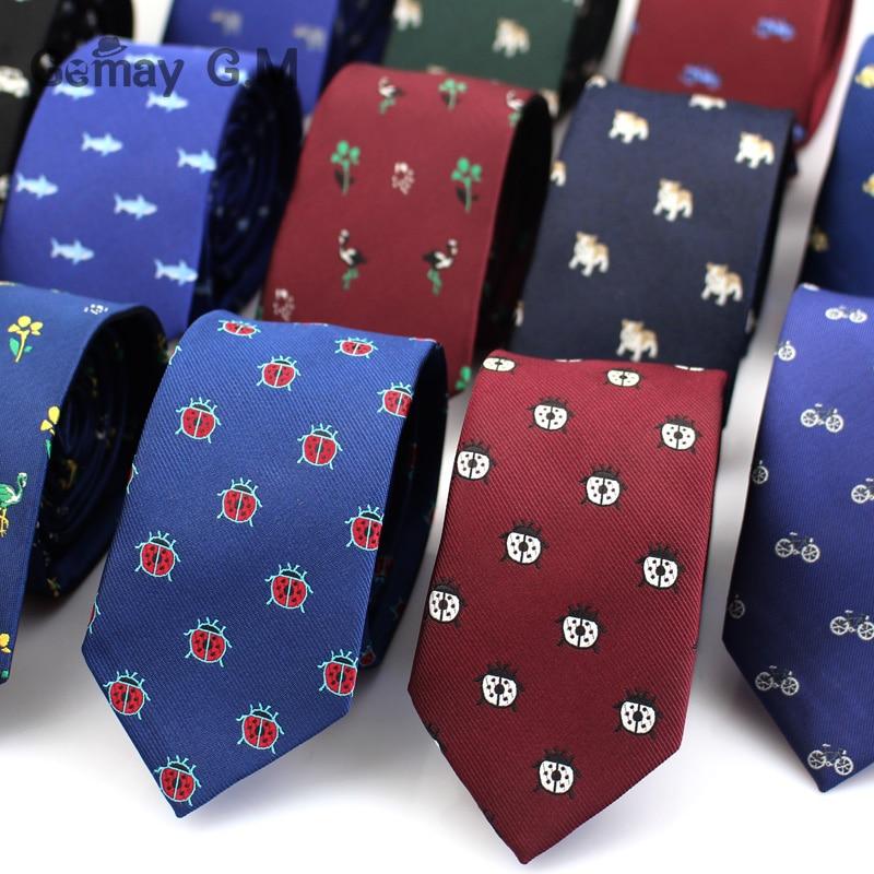 Polyester Jacquard Ties For Men Animal Neckties for Wedding Business Suits 6cm Skinny Wide Neck Ties Slim Gravatas Accessories недорого