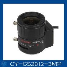 "Free shipping  3MP cctv camera lens2.8-12mm DC Iris lens, 1/2.7""  CS mount F1.4  for Security Camera,CY-CS2812-3MP"