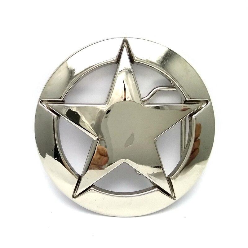 Transporte da gota da Segunda Guerra Mundial EUA militar branco estrela de cinco pontas-logotipo cinto de cowboy cinto de fivela de metal personalizado Varejo fivelas