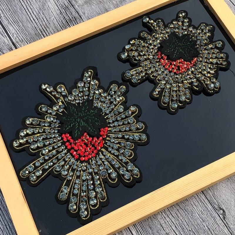 Parches de Cuentas grandes de frutas de fresa con motivos para coser en apliques de primera categoría bordado 3D DIY accesorio apliques