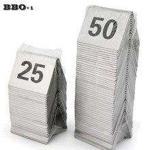 1-50 cartes de numéro de Table de tente dacier inoxydable Restaurant café Bar sièges numéros de Table fournitures de fête danniversaire de mariage