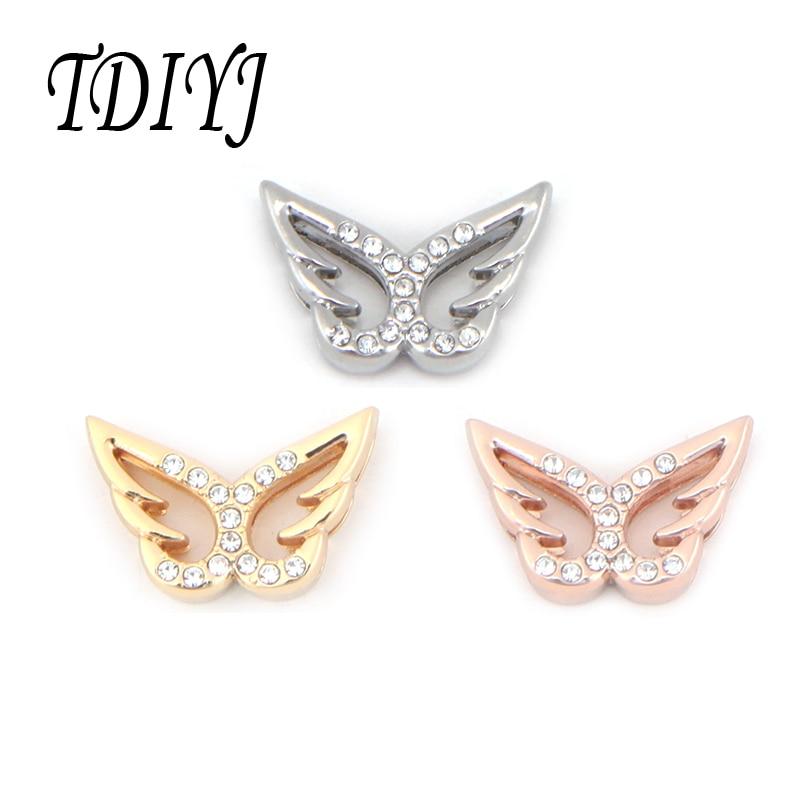 TDIYJ DIY Schmuck 10mm Schmetterling Armband Charme Frauen Kristalle Slide Charme für Leder/Edelstahl Keeper Mesh Armband