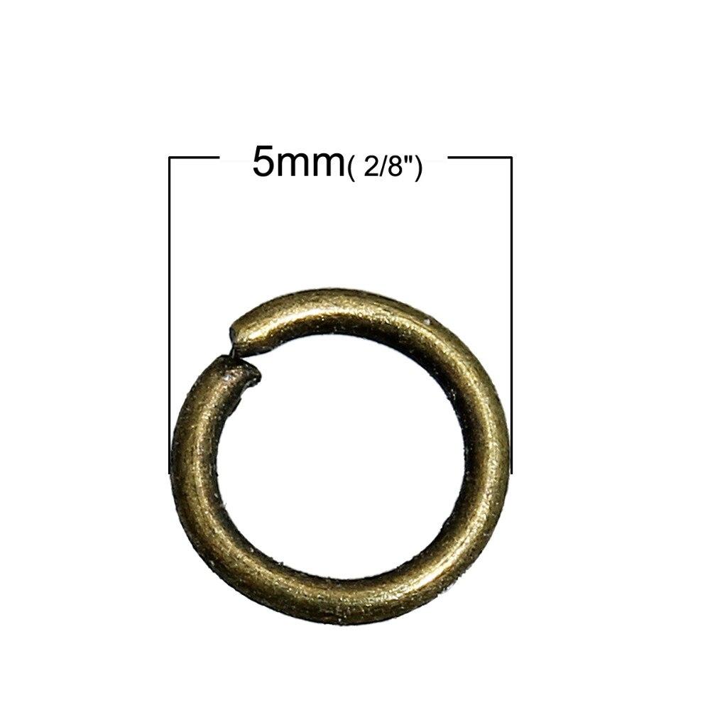 Doreen Box Schöne 1200PCs Bronze Geöffnete Sprung-Ring 5mm Dia. (B01782)