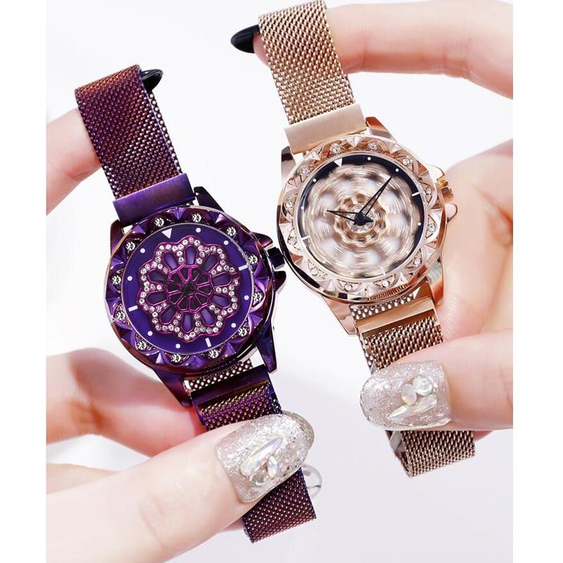 New Ladies Watch women Luxury Rose Gold Rotate Dial Mesh Magnet Starry Sky Wristwatches Womens Fashion Bracelet Quartz