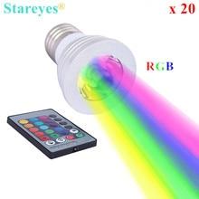 Free shipping  20 pcs 3W E27 GU10 E14 RGB LED Light Remote Control 16 Color RGB LED spotlight Lamp Bulb Droplight LED Lighting
