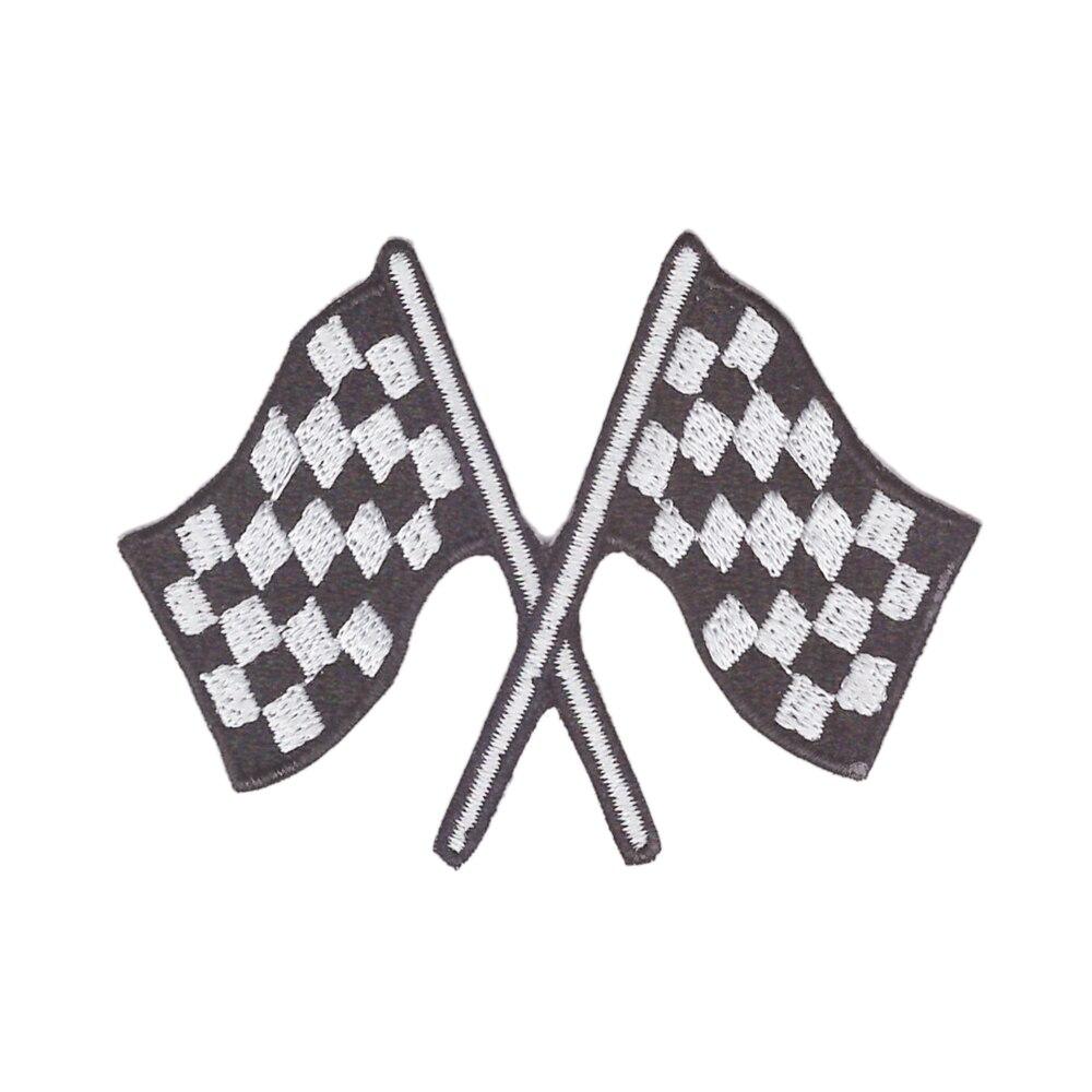Aanywe parche bandera a cuadros auto de carreras de aplique de rockabilly-hierro en parche