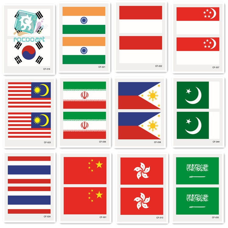 2018 Азия флеш тату флаги стикер Корея Индия Индонезия Саудовская Аравия Таиланд