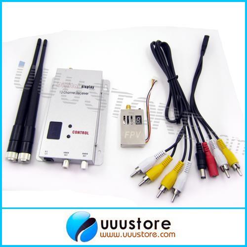 Sistema de transmisión de video de larga distancia 1,2 Ghz 1,3 Ghz 1000mW transmisor inalámbrico de 4 canales y Kit receptor de 12 canales