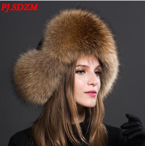 PJ.SDZM Luxury Fox fur Hat Women Winter Warm Ear Protection Hat Top Waterproof Cloth Cap Large Fur B