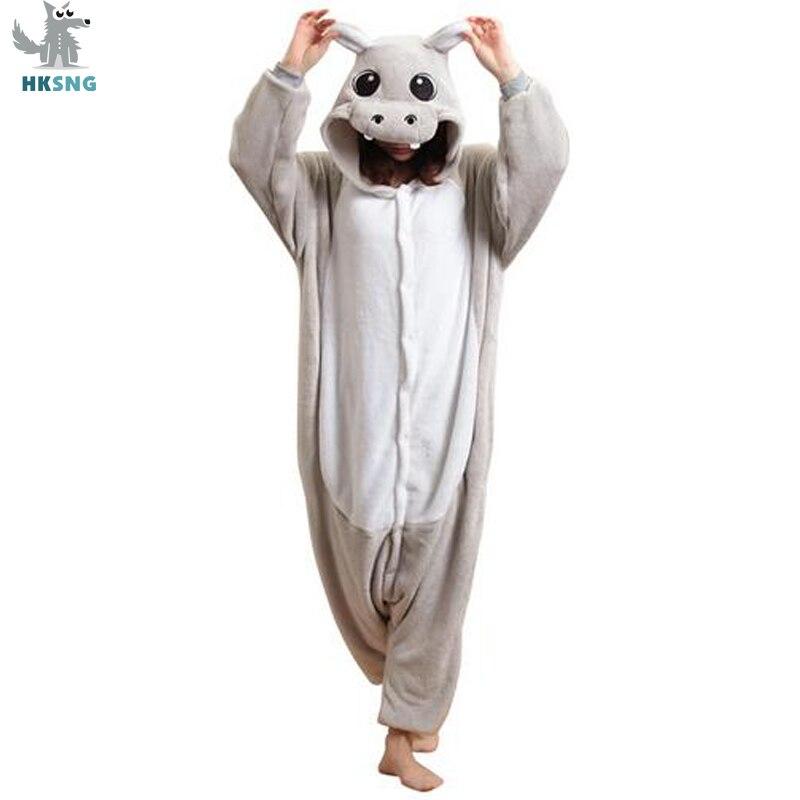 HKSNG Animal adulto gris Kigurumi pijamas de hipopótamo dibujos animados Rosa río caballo familia fiesta Halloween Onesies trajes ropa de dormir kigururu