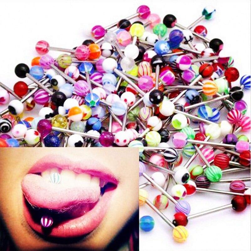 De moda de 30 mixto lengua barras de anillos joyería PIERCING Barbell Piercing en la lengua de joyas de cuerpo pesas Acero quirúrgico