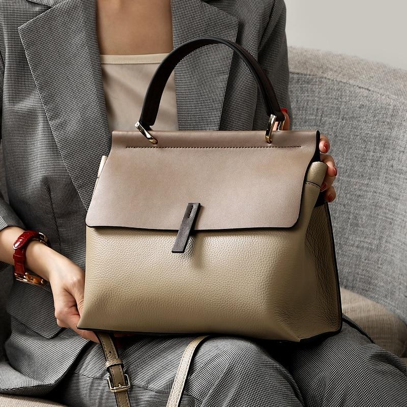 حقيبة يد نسائية من الجلد الطبيعي ، حقيبة كتف ، حقيبة كتف ، 2019