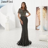 janevini luxury crystal dubai long evening dresses 2019 scoop neck sparkling beaded sexy mermaid black tulle formal party gowns
