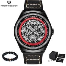 PAGANI Design 2018 Punk Skeleton Skull Men Luxury Watches Automatic Leather Band Mechanical Wrist Watch Men relogio masculino