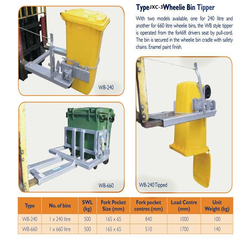 Venda quente acessórios de Empilhadeira Empilhadeira anexo lata de lixo acessórios de elevação