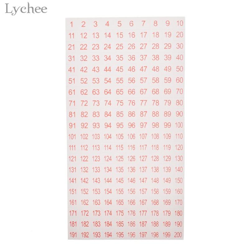 Etiquetas con números adhesivos de Lychee Life, 1 a 200, pegatinas para álbum de recortes de manualidades hechas a mano, etiquetas adhesivas, papelería de diario, álbum de decoración