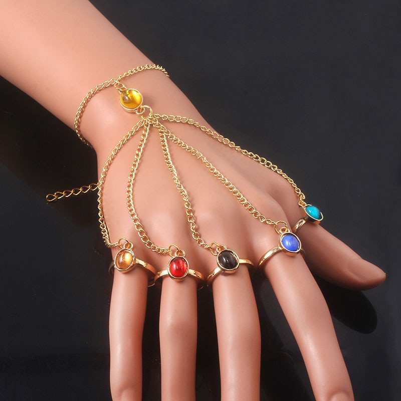 Infinite Power Glove Gauntlet Bracelets Bangles Gem Stone Pulsera For Women Girls Jewelry Gift