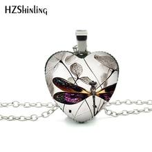 Nouveau Steampunk libellule coeur collier violet libellule coeur pendentif bijoux Murano verre coeur collier HZ3