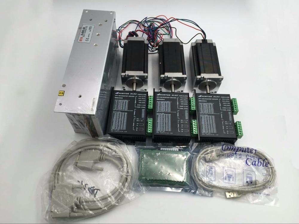 Motor paso a paso Nema23, Juego de 3 ejes, Motor paso a paso L76mm 1,8nm + controlador de Motor DC24 ~ 50V + tablero de ruptura de 5 ejes + Cable USB y paralelo