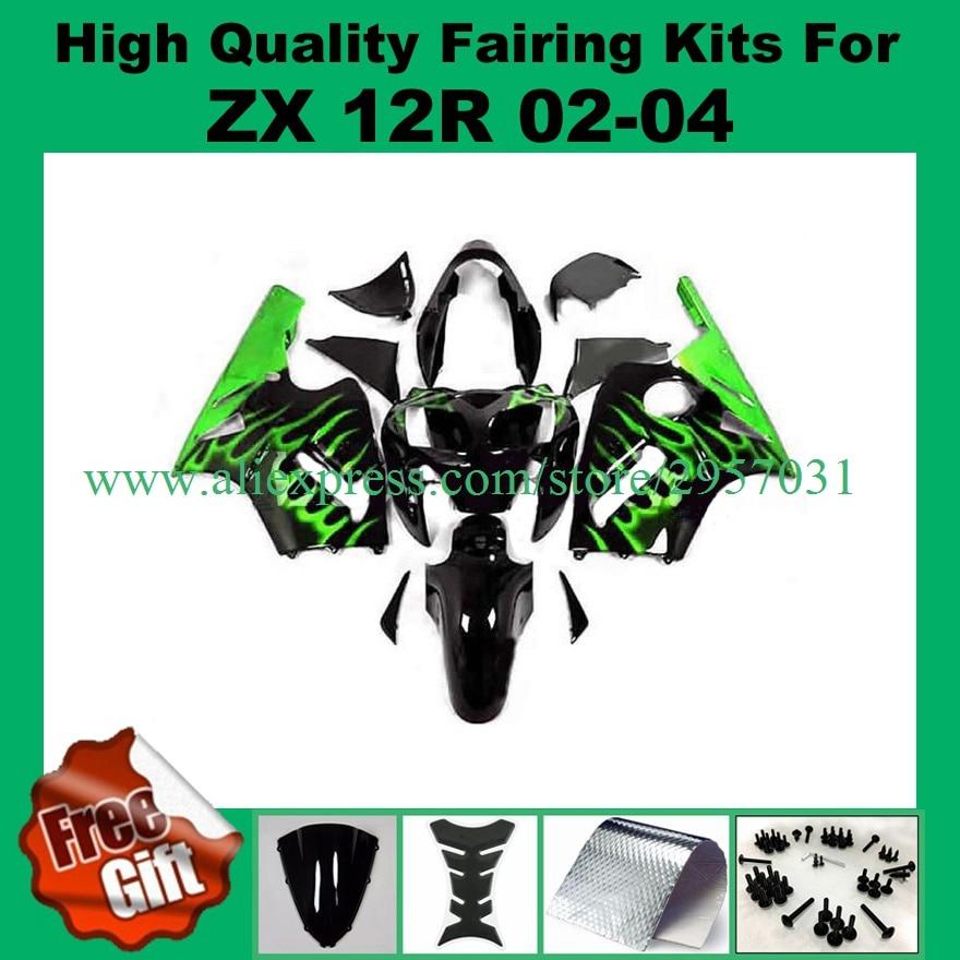 Free screws+gifts Fairing kit for KAWASAKI Ninja ZX12R 02 03 04 05 ZX 12R 2002 2004 2005 Green Flame Black Fairings set
