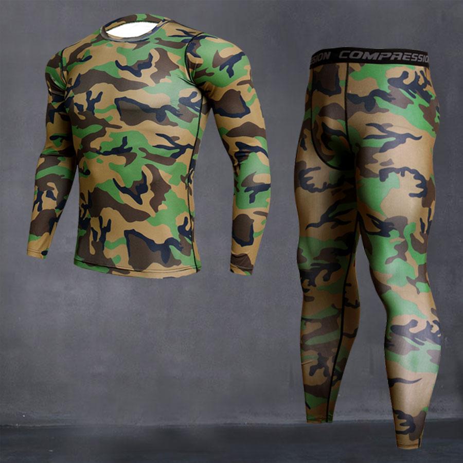 Compressão esportes terno 4xl collants para t-shirt dos homens conjunto de roupa interior térmica dos homens de fitness corrida terno marca 2019 MMA rash guard