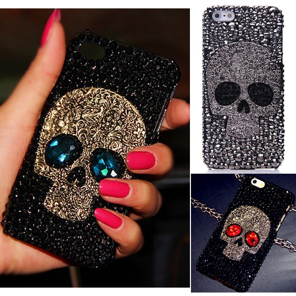 Bien 3D cráneo esqueleto ojos Bling Capa casos para iPhone 11 Pro Max XS Max XR X XS 8 7 Plus 6 6s Plus 5 S 5 SE Punk Fundas casos