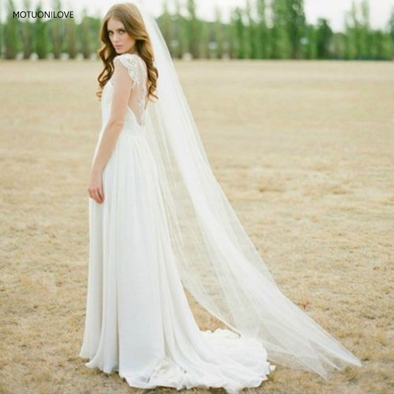 2M Long Tulle Bridal Veils One Layer Chapel Train Veils Cut Edge White Ivory Womens Wedding Veils for Bride Velo De Novia Largo