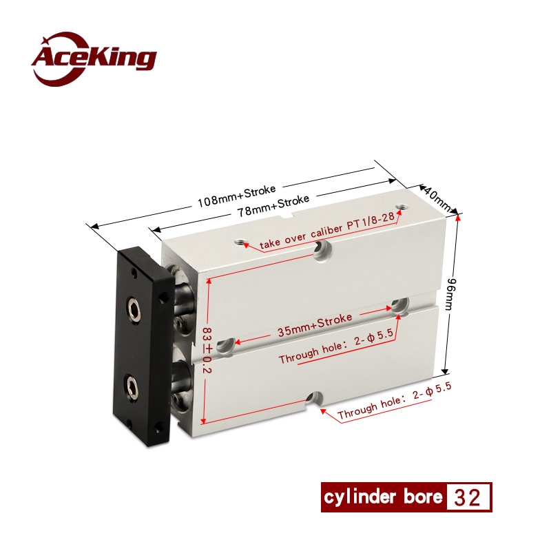 TDA/TN32 اثنين من محور شريط مزدوج اسطوانة TN32X10X20X30X40X50X60X70X75X80X90X100X125X150 * 200X250X300-S AceKing TN32X125-S