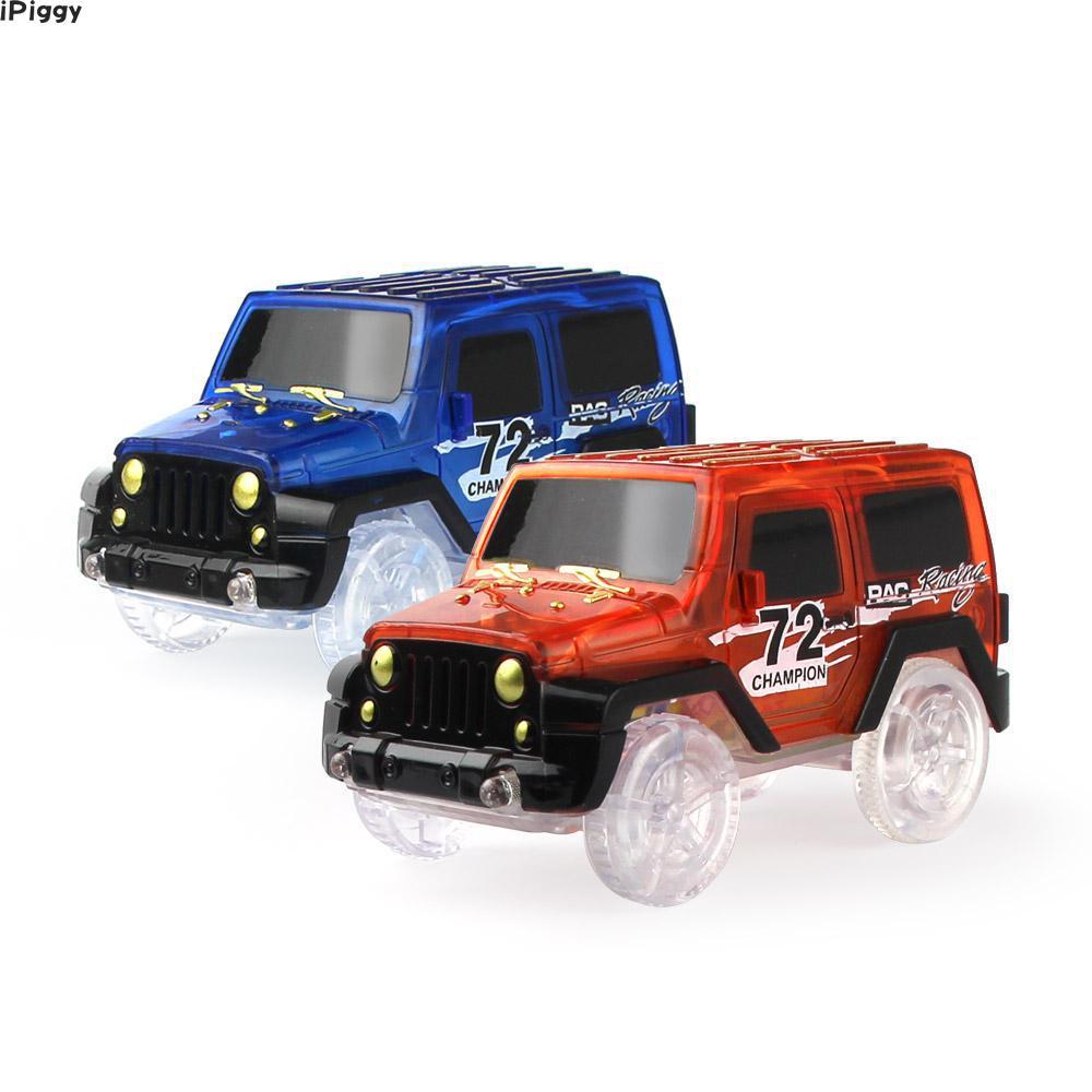iPiggy Electronic LED Car Toys Flashing Lights Mini Race Track Car Kids Flexible Racing Cars Play With Glow Race Track Toy