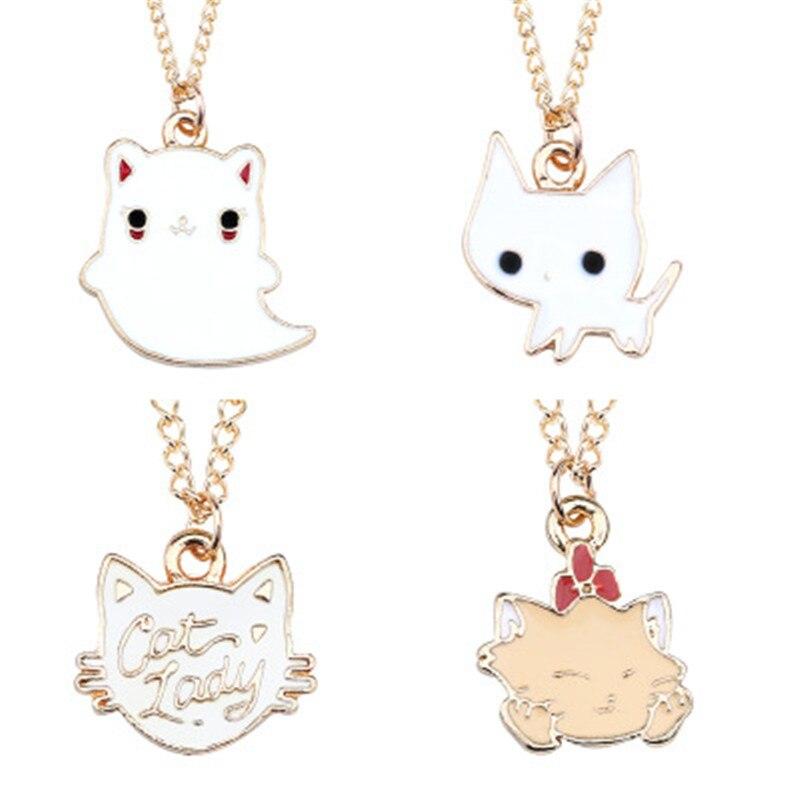 Collar de la serie del gato fantasma de moda novedosa europea y americana color plateado gato animal colgante ornamentos regalo de vacaciones