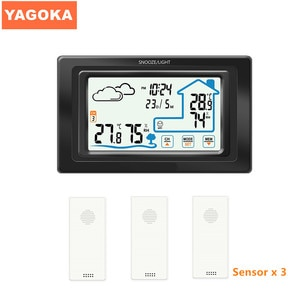 Three Sensors Touch control digital temperature instrument indoor and outdoor weather station clock