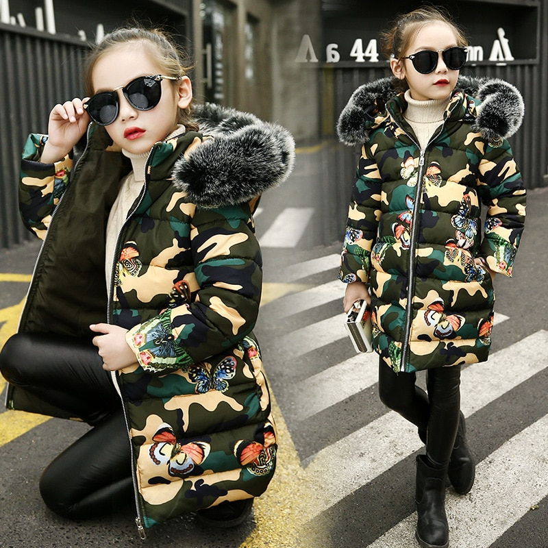 Girls Cotton-padded Outerwear Camouflage Coats Winter Children Warm Clothes Fashion Fur Collar Girls Jacket 4 6 8 10 12 13 Years