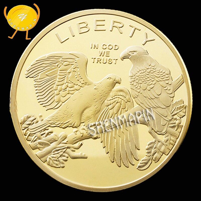 Liberdade Águia americana Moeda Comemorativa Medalha Challenge Coin Cultura Ofício Da Arte Animal Moedas Colecionáveis Casa Decorações