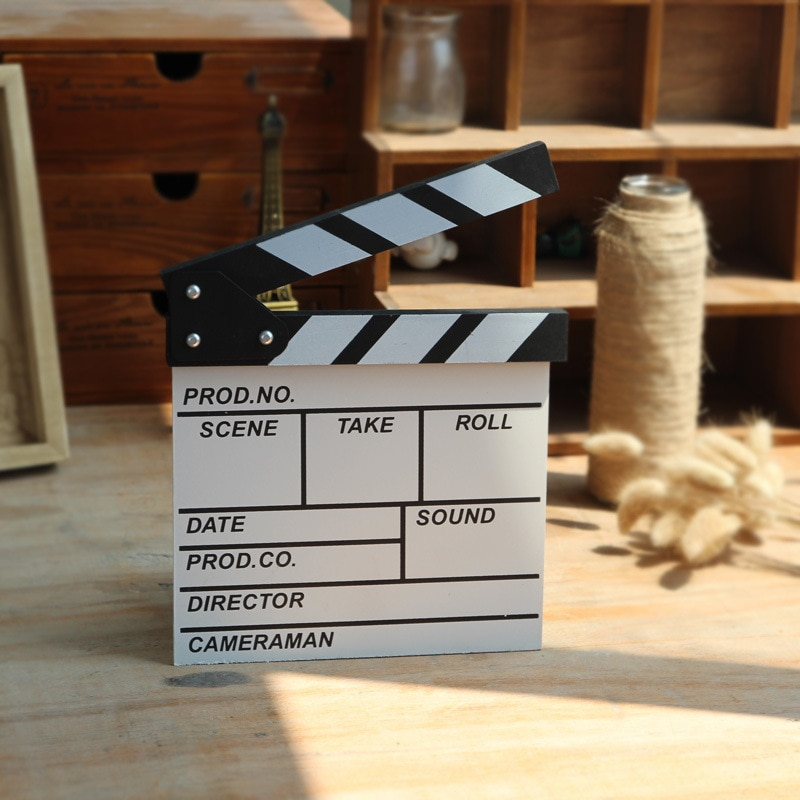 Inglês Mini Diretor Cena Vídeo Claquete TV Movie Clapper Board Film Slate Cut Prop Decoração Casa Artesanato