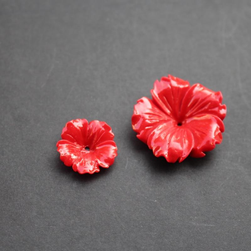 (10 unids/lote) tallado 20mm 30mm flores espacio partes rojo Color Coral Artificial hallazgos para la fabricación de joyas