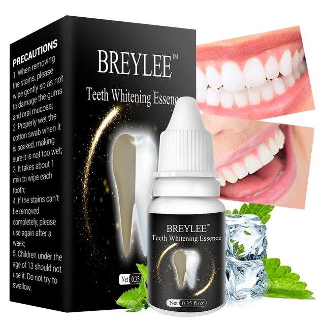 Белая отбеливающая эссенция для зубов BREYLEE, сыворотка для гигиены полости рта, удаляет зубной налет, отбеливания зубов, уход за зубами