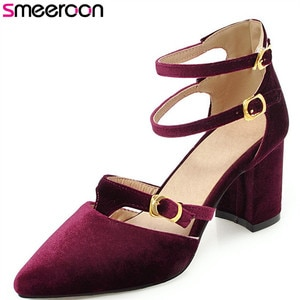 Smeeroon 2020 top quality women sandals pointed toe ladies shoes buckle elegant party wedding shoes square high heels shoes