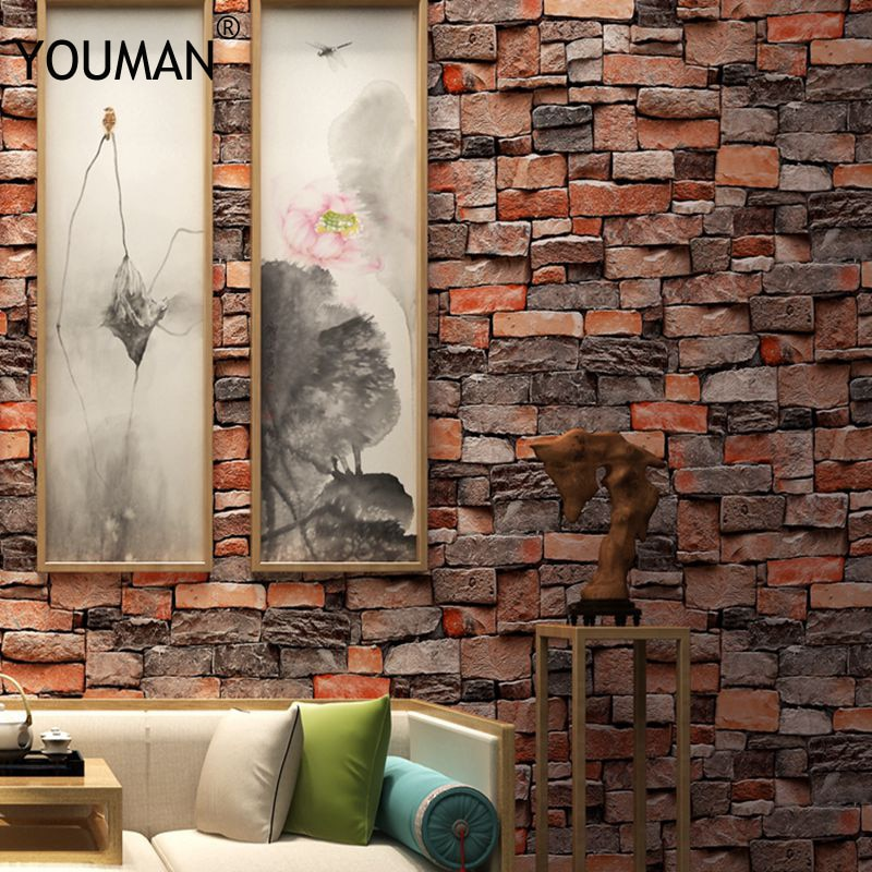 خلفيات يومان ثلاثية الأبعاد الفينيل الطوب للجدران في لفات ثلاثي الأبعاد الطوب الرجعية الطوب حجر تجليد واجهات غير ذاتية اللصق
