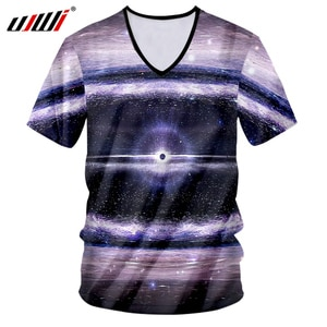 UJWI V Neck Mens T Shirts New Arrival 3D Cool Print Galaxy Space Star T-shirt Hombre Hip Hop Streetwear Casual Tshirt Tee Unisex