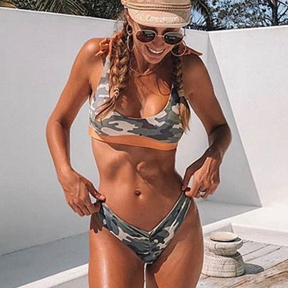 Frauen bikini reversible camouflage badeanzug verknotet bademode strappy bikini push up hohe bein badeanzug Camo bikinis weibliche