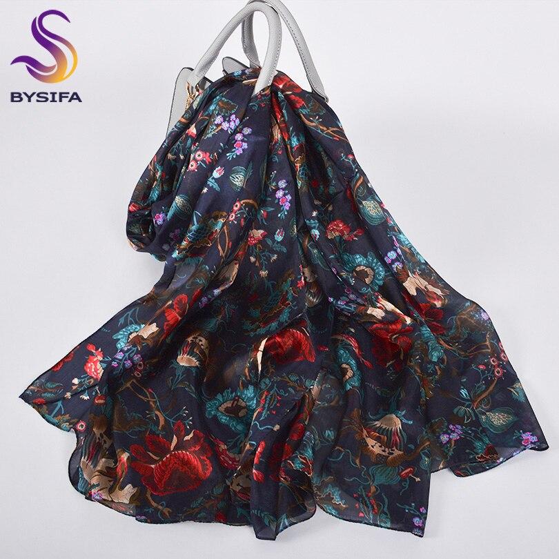 [BYSIFA] Womens Pure Silk Scarf Shawl Fashion Utra-long Scarves Printed Fall Foulard Winter Navy Blue Red Neck Scarf 180*110cm