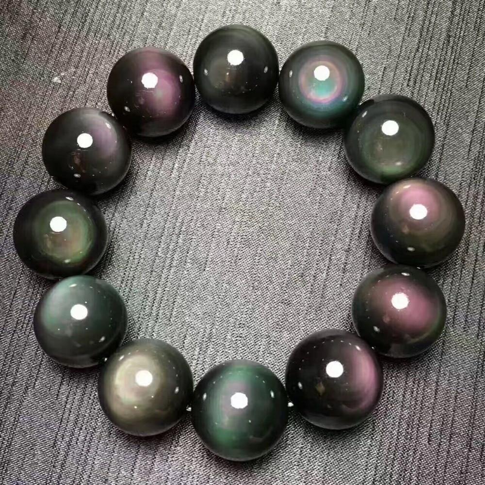Natural colorido obsidian gemstone mulher homem flash redondo contas pulseira aaaaa transporte da gota 8mm 10mm 12mm 14mm 16mm 18mm 20mm