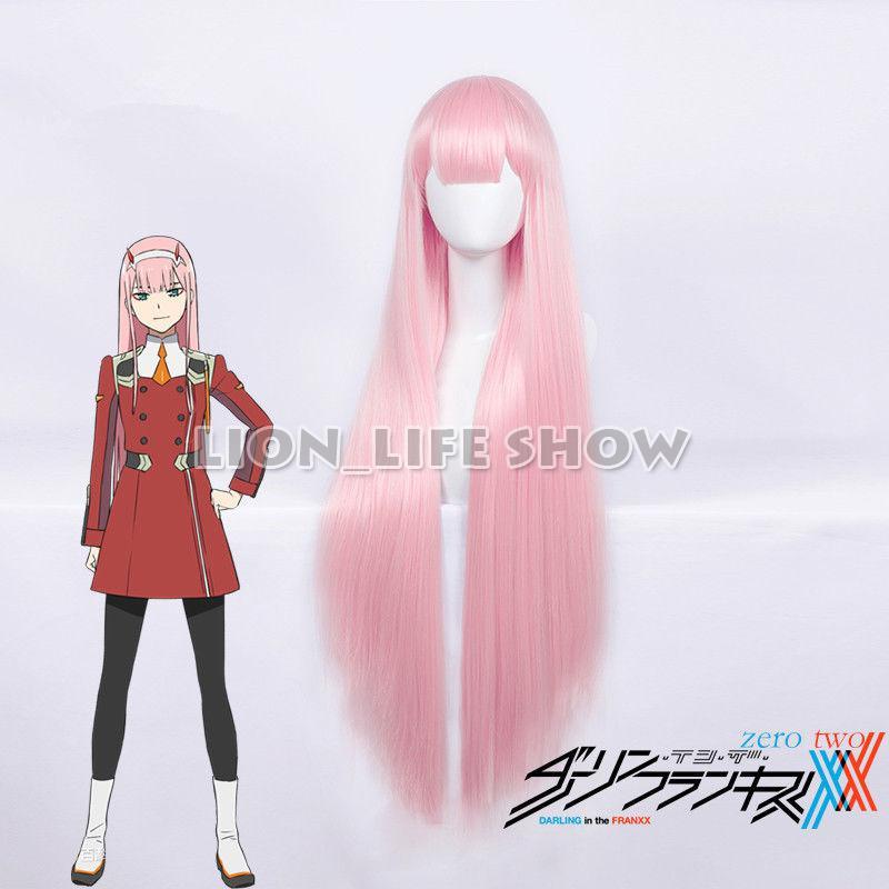 100 cm Anime cariño en el FRANXX 02 Strelizia Rosa larga Peluca de pelo postizo para Cosplay