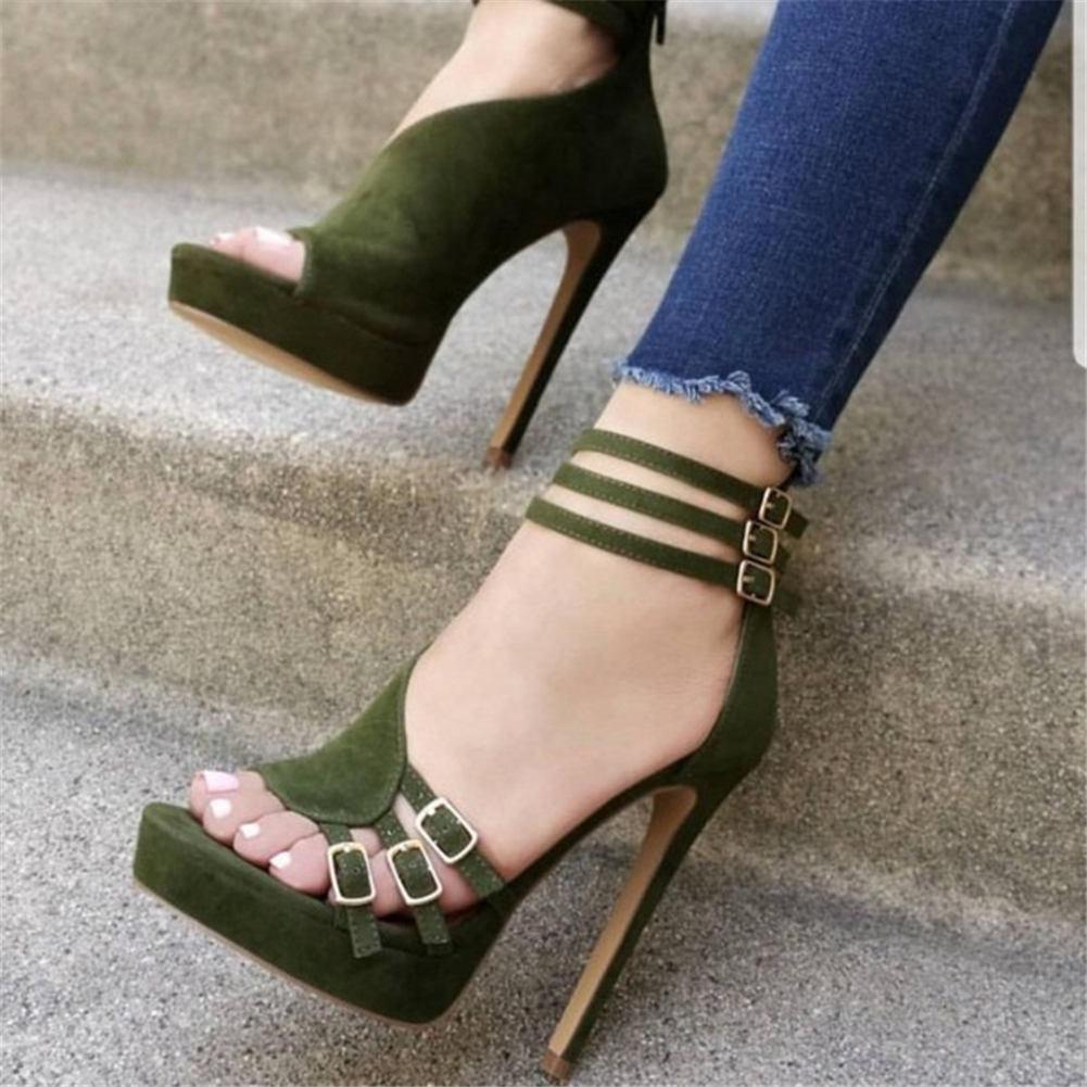 حذاء نسائي مثير بكعب عالٍ مع أبازيم حزام ، حذاء صيفي ، حفلة ، تصميم ذو علامة تجارية ، مقاس كبير 35-47