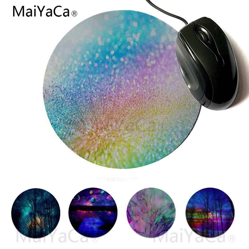 Maiyaca  Rainbow Glitter gamer play mats Mousepad 20x20cm 22x22cm diameter round mouse pad