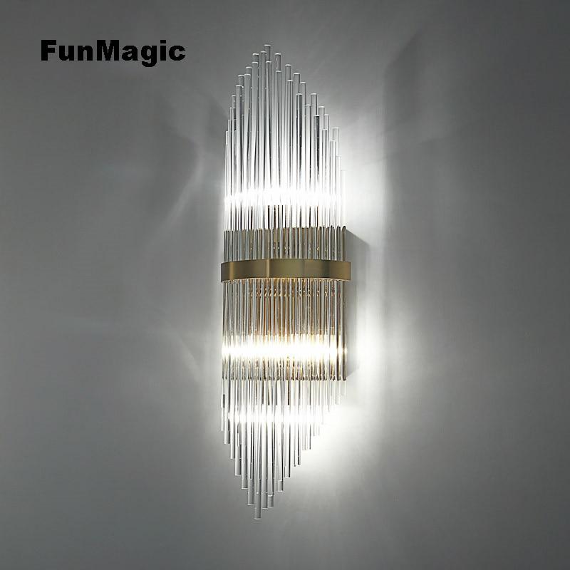 Lámpara de pared de cristal postmoderna dormitorio luz de noche sala de estar estudio luz pasillo iluminación pared montado Sconces dorado